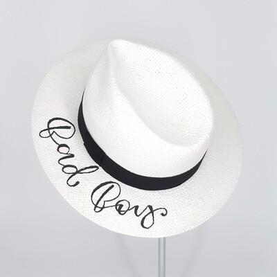 Fedora zomerhoed met quote - wit