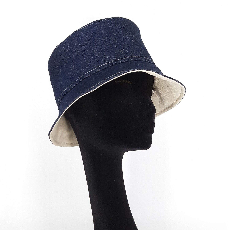 Bucket hoed in jeans met linnen voering - mt 58