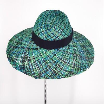 Faubourg zomer hoed met brede rand - een mix van blauwe en groene papyrus & blauw lint