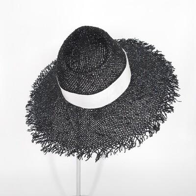 Faubourg zomer hoed met brede gerafelde rand - zwart en zilver papyrus & wit lint