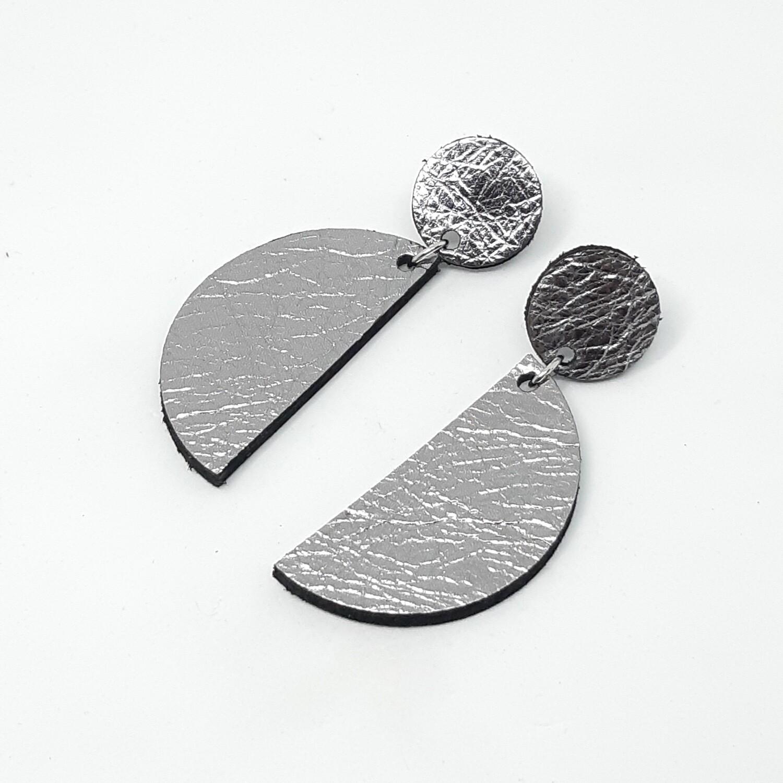 Oorbellen sterrenbeeld Gemini/Tweeling (21 mei-20 juni) zilver lakleder
