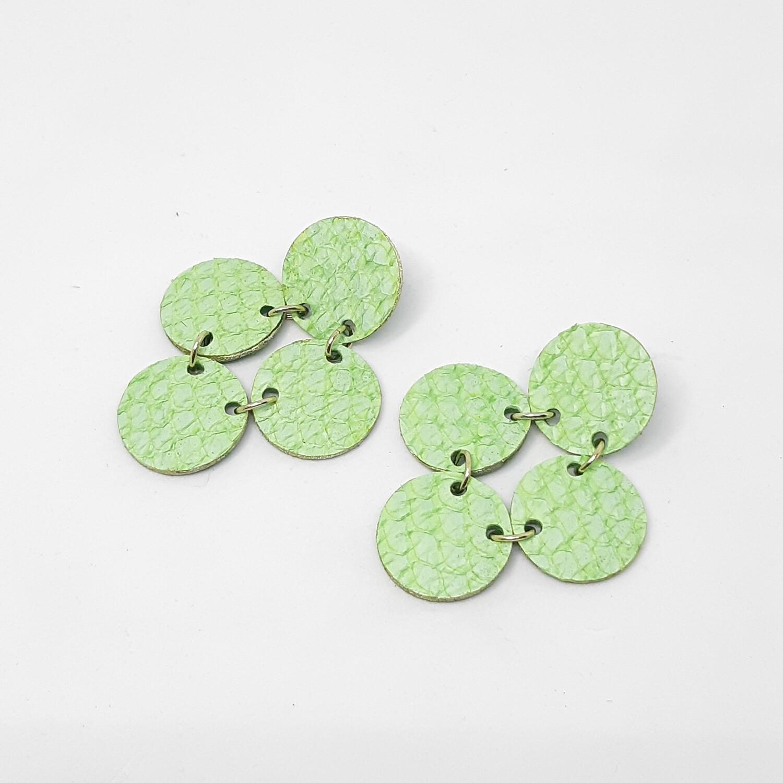 Oorbellen sterrenbeeld Pisces/Vissen (19 feb-20 maart) groen visleder