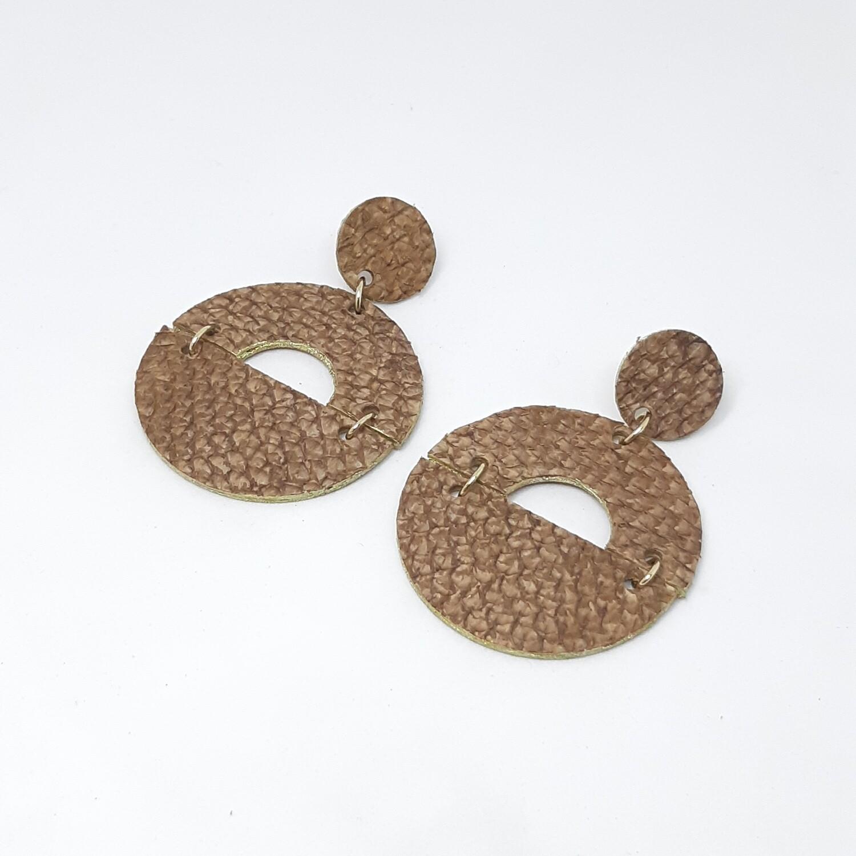 Oorbellen sterrenbeeld Capricorn/Steenbok (22 dec-19 jan) bruin visleder