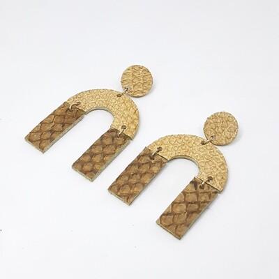 Oorbellen sterrenbeeld Leo/Leeuw (23 juli-22 aug) cognac bruin visleder