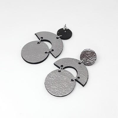 Oorbellen sterrenbeeld Cancer/Kreeft (21 jun-22 jul) zilver lakleder