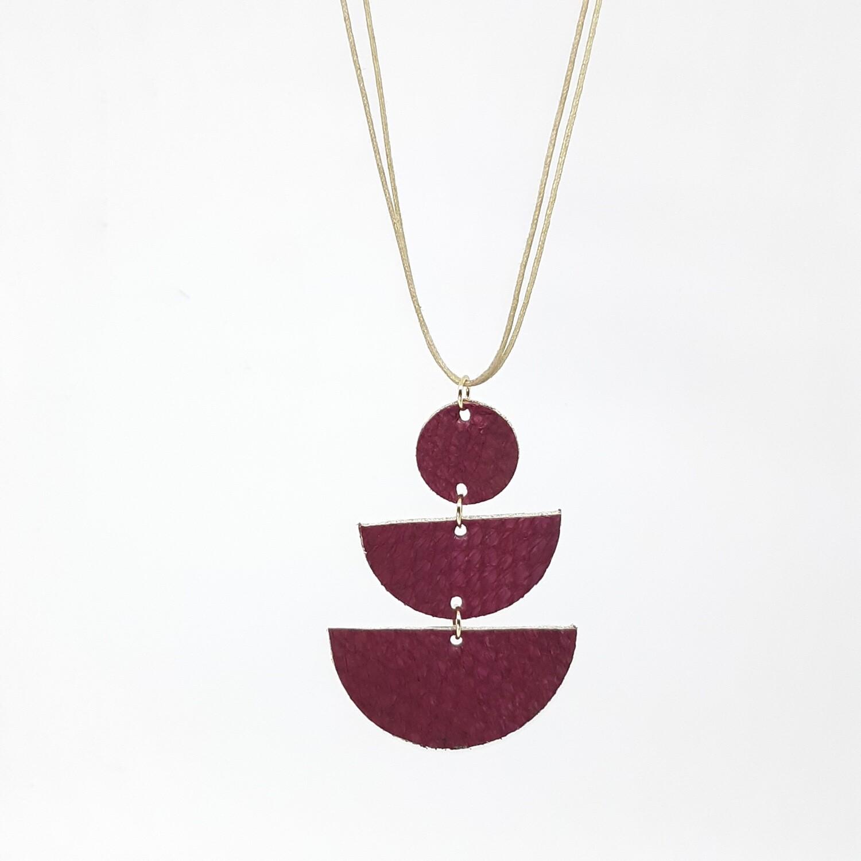 Hanger sterrenbeeld Aries/Ram (21 maart-19 apr) wijnrood visleder