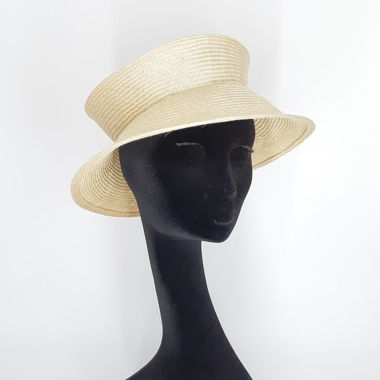 Opvouwbare stijlvolle zomerhoed  in parasisal met 1 plooi - crème