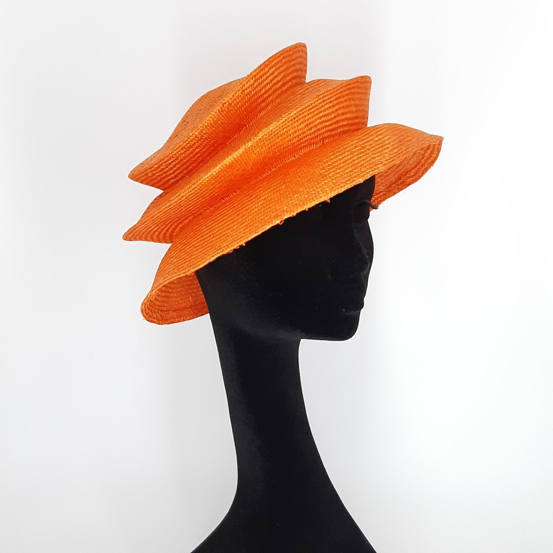 Opvouwbare stijlvolle zomerhoed  in parasisal met 2 plooien - oranje