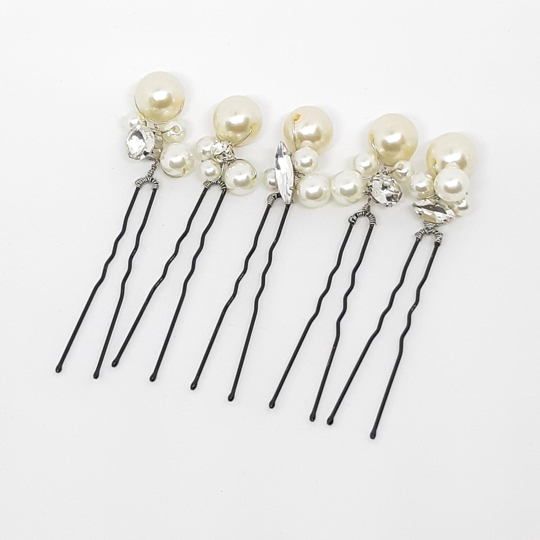 Haarpins - set van 5 spelden met elk 4 parels en strass