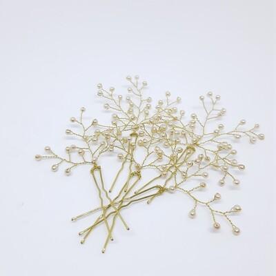 Haarjuweel - 5 haarpins met fijne parels en gouddraad