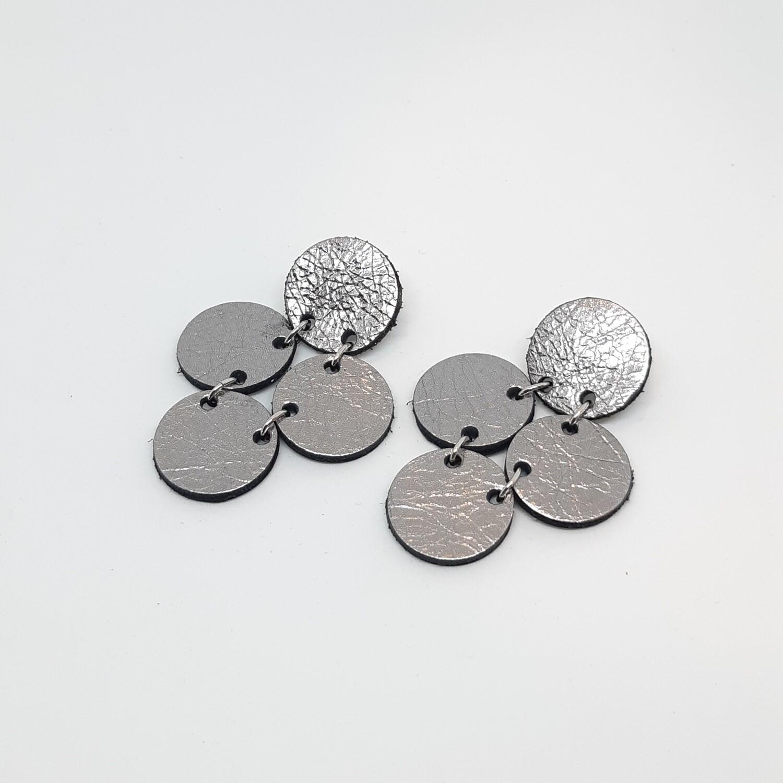 Oorbellen sterrenbeeld Pisces/Vissen (19 feb-20 maart) zilver lakleder