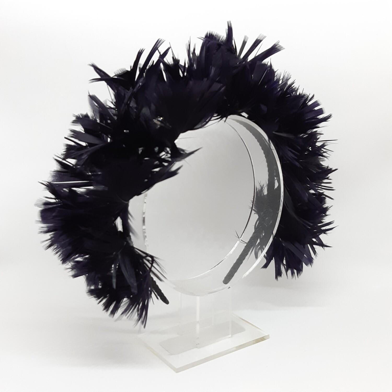 Diadeem met verenkroon in zwart en Swarovsky kristallen