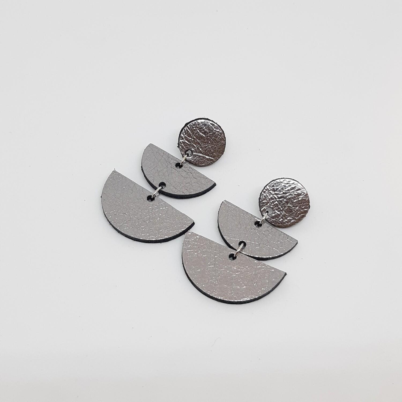 Oorbellen sterrenbeeld Aries/Ram (21 maart-19 apr) zilver lakleder