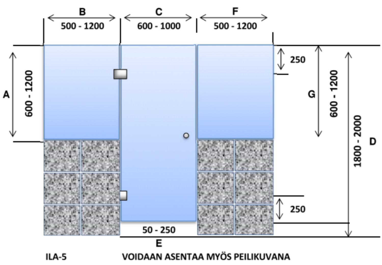 ILA5 Saunanlasiseinä lasiovi + 2 kpl ikkuna