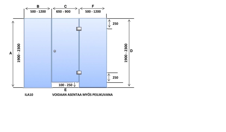 ILA10 Saunanlasiseinä lasiovi + 2 kpl lasiseinä