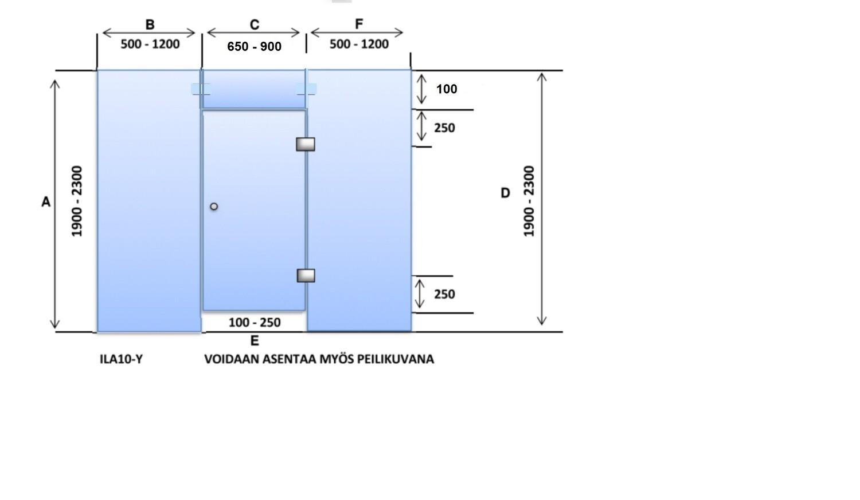 ILA10-Y Saunanlasiseinä lasiovi + ylälasi + 2 kpl lasiseinä