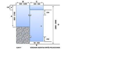 ILA4-Y Saunanlasiseinä lasiovi + ylälasi + ikkuna