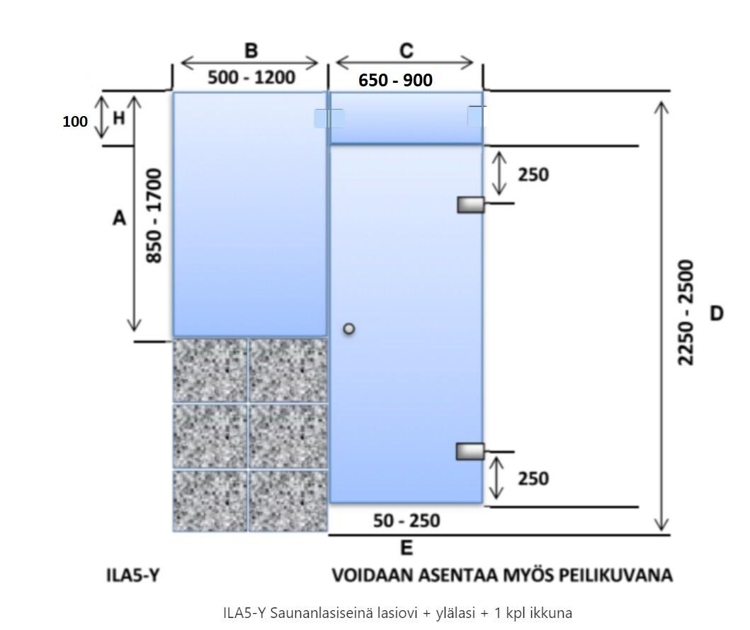 ILA5-Y Saunanlasiseinä lasiovi + ylälasi + 1 kpl ikkuna