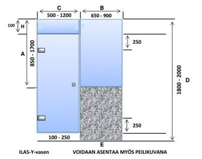 ILA5-Y-vasen Saunanlasiseinä lasiovi + ylälasi + 1 kpl ikkuna