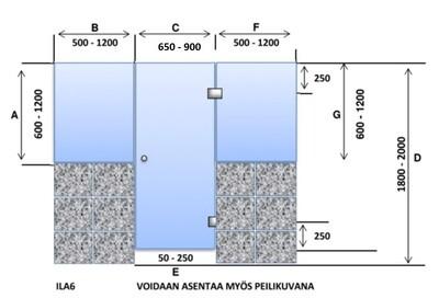 ILA6 Saunanlasiseinä lasiovi + 2 kpl ikkuna