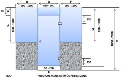 ILA7 Saunanlasiseinä lasiovi + ylälasi + 2 kpl ikkuna