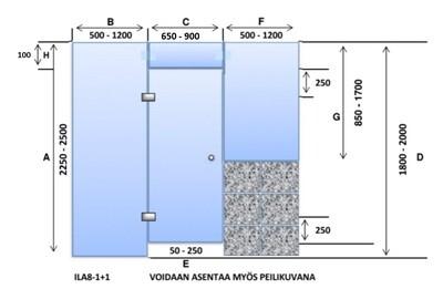 ILA8-1+1 Saunanlasiseinä lasiovi + ylälasi + 1 kpl lasiseinä+ikkuna