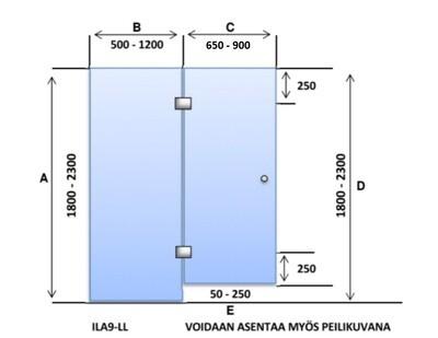 ILA9-LL Saunanlasiseinä lasiovi + 1 kpl lasiseinä