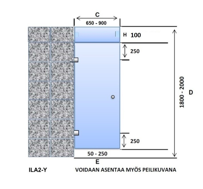 ILA2-Y Saunan lasiovi + ylälasi