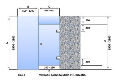 ILA9-Y Saunanlasiseinä lasiovi + ylälasi + 1 kpl lasiseinä