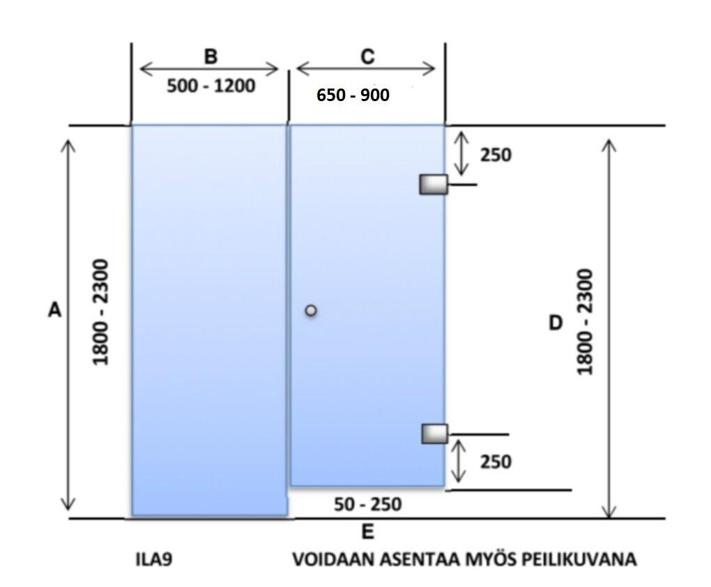 ILA9 Saunanlasiseinä lasiovi + lasiseinä