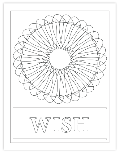 WISH COLORING PAGE