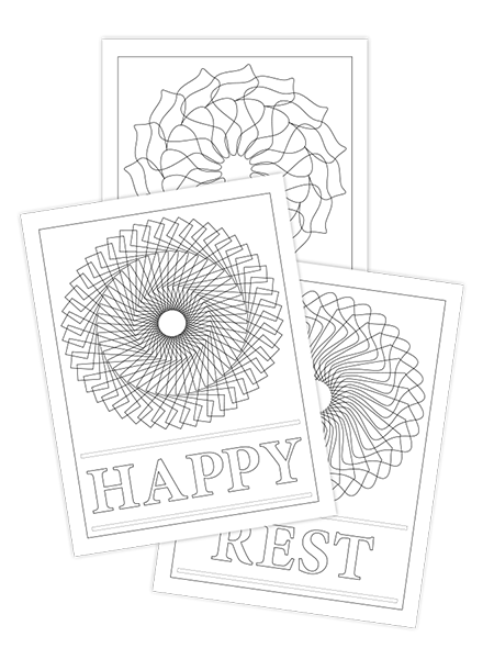 REST-HAPPY-PEACE TRIO COLORING PAGES
