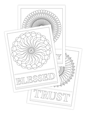 TRUST-BLESSED-HARMONY TRIO COLORING PAGES