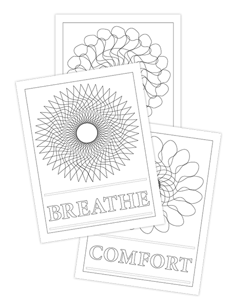 BREATHE-CALM-COMFORT TRIO COLORING PAGES