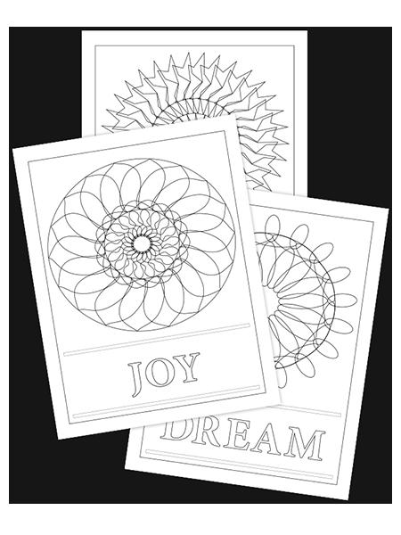 DELIGHT-DREAM-JOY TRIO COLORING PAGES