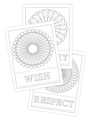 WISH-RESPECT-WORTHY TRIO COLORING PAGES
