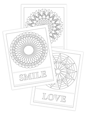 SMILE-LIGHT-LOVE TRIO COLORING PAGES