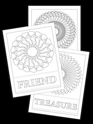 FRIEND-LAUGH-TREASURE TRIO COLORING PAGES