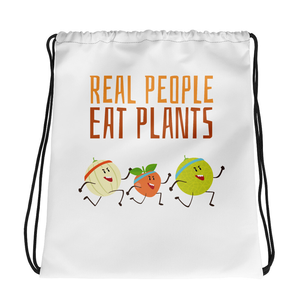 Real People Eat Plants Drawstring Bag