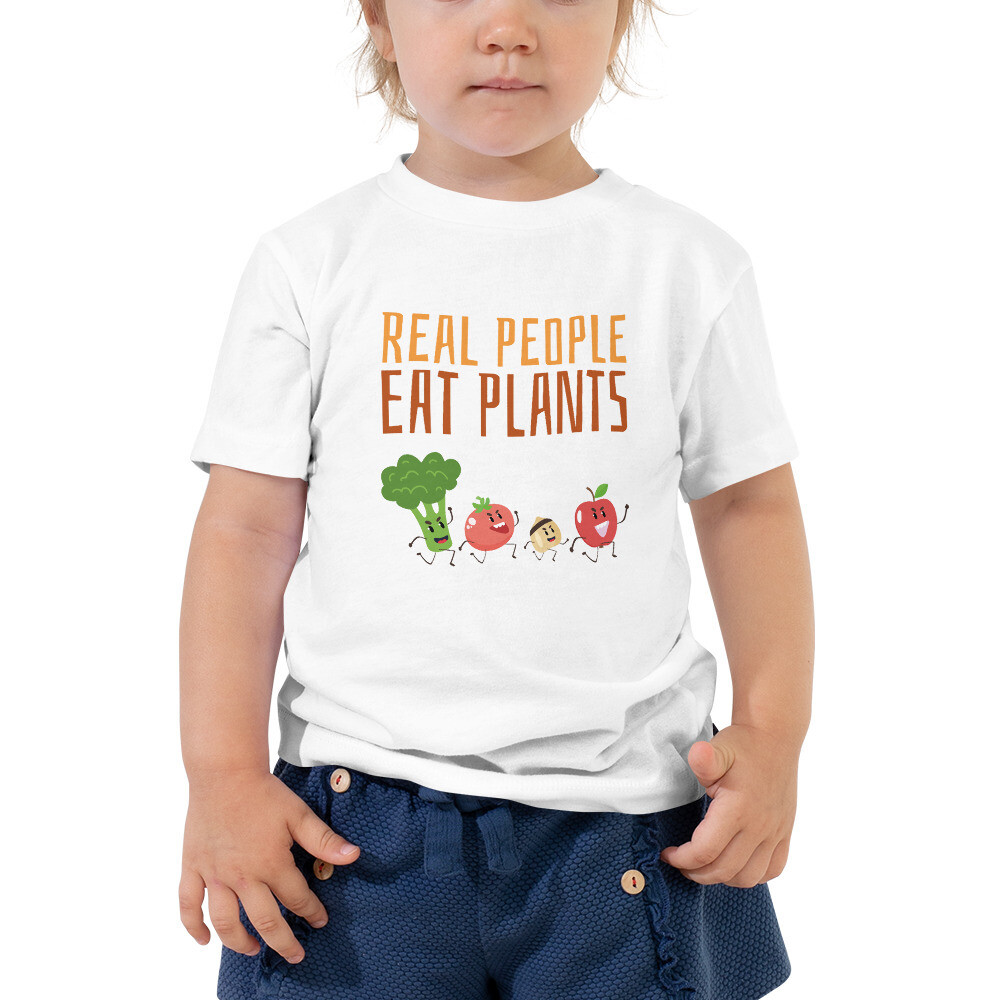 Real People Eat Plants Toddler Short Sleeve Tee All Veggies