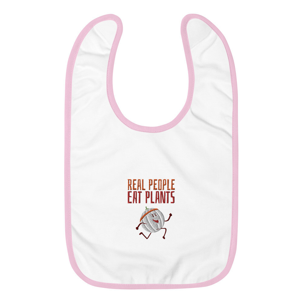 Real People Eat Plants Embroidered Baby Bib Cantaloupe