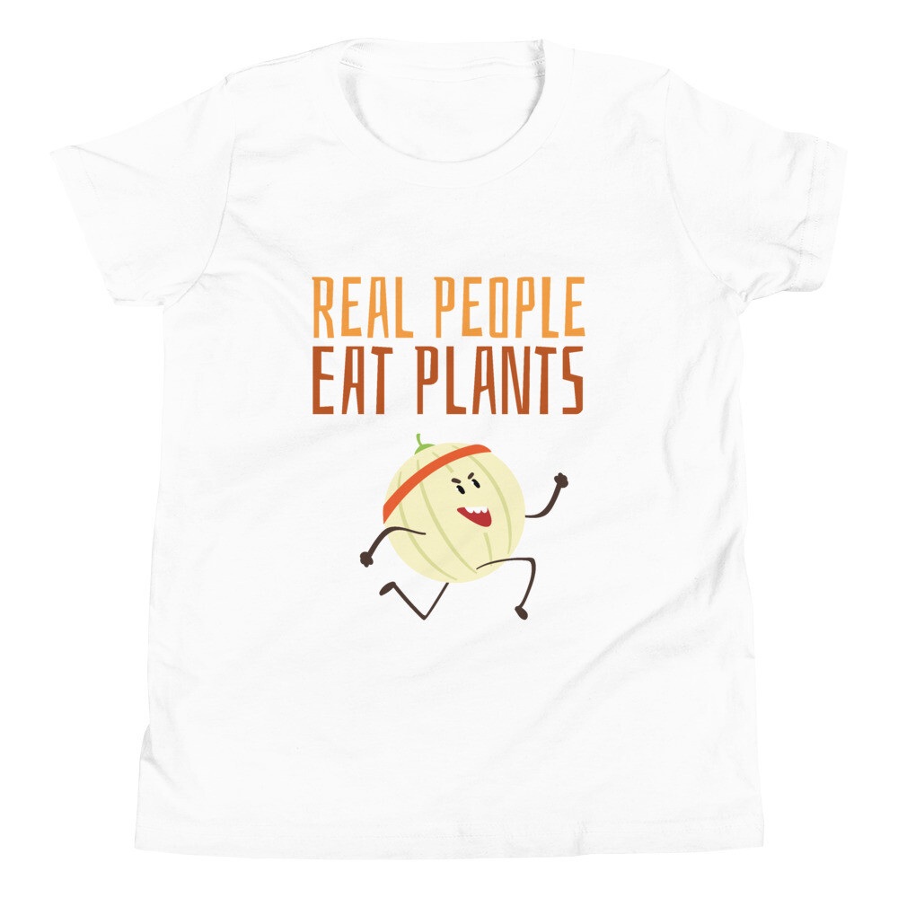 Real People Eat Plants Youth Short Sleeve T-Shirt Cantaloupe