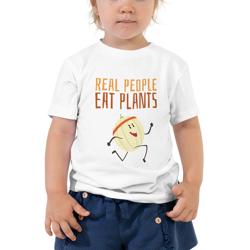 Real People Eat Plants Toddler Short Sleeve Tee Cantaloupe