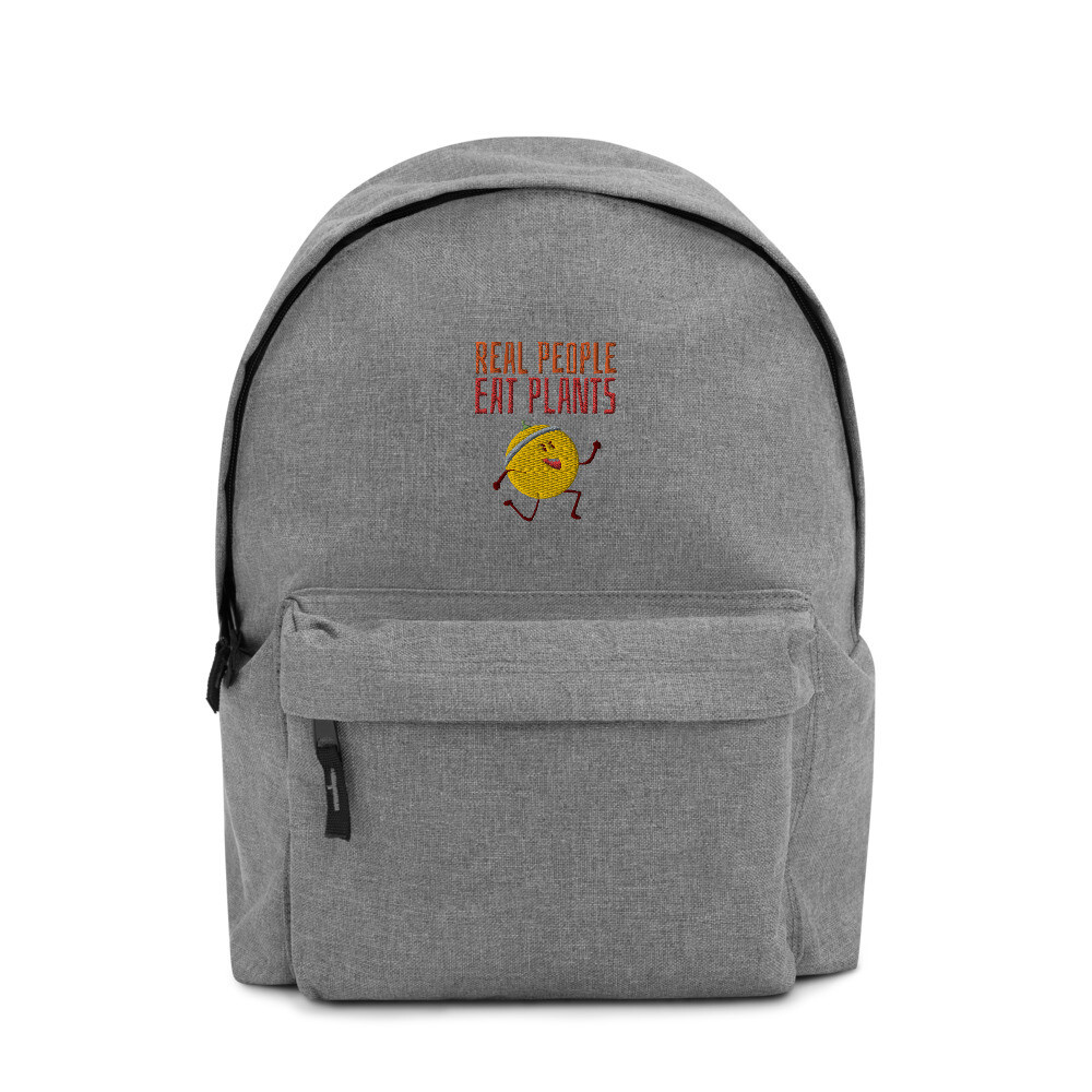 Real People Eat Plants Embroidered Backpack Muskmelon