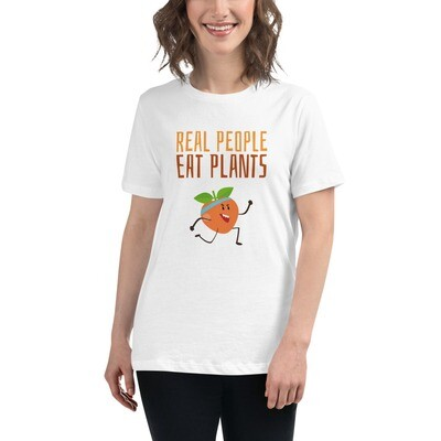 Real People Eat Plants Women's Relaxed T-Shirt Peach