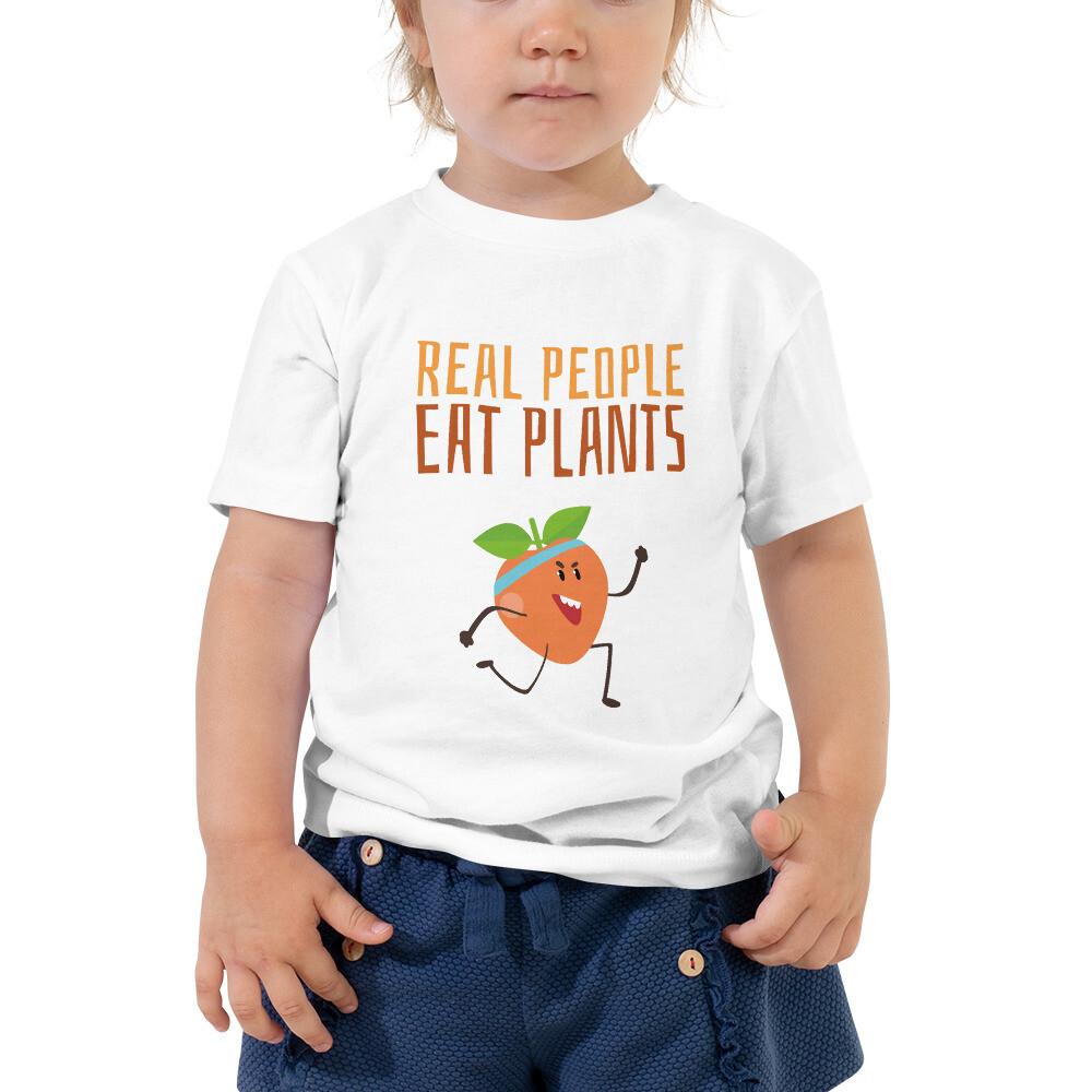 Real People Eat Plants Toddler Short Sleeve Tee Peach