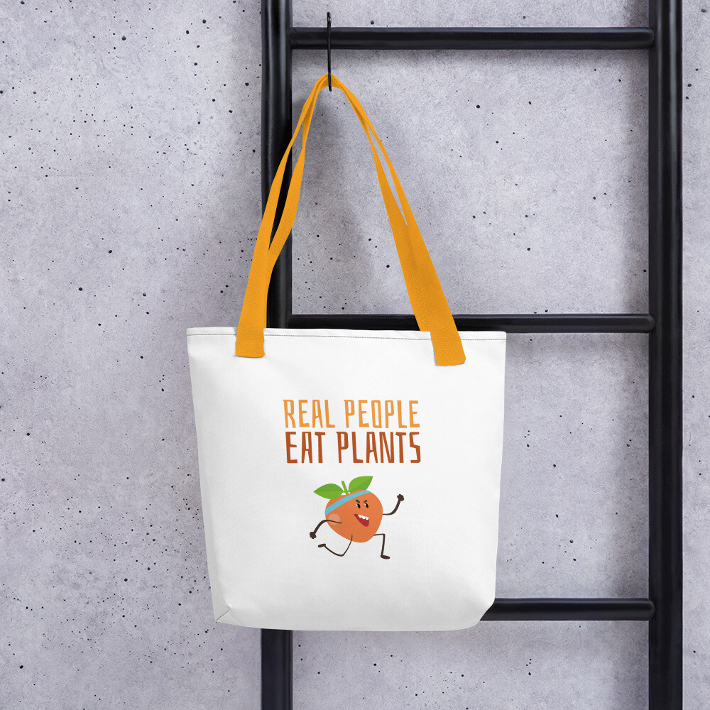 Real People Eat Plants Tote bag Peach