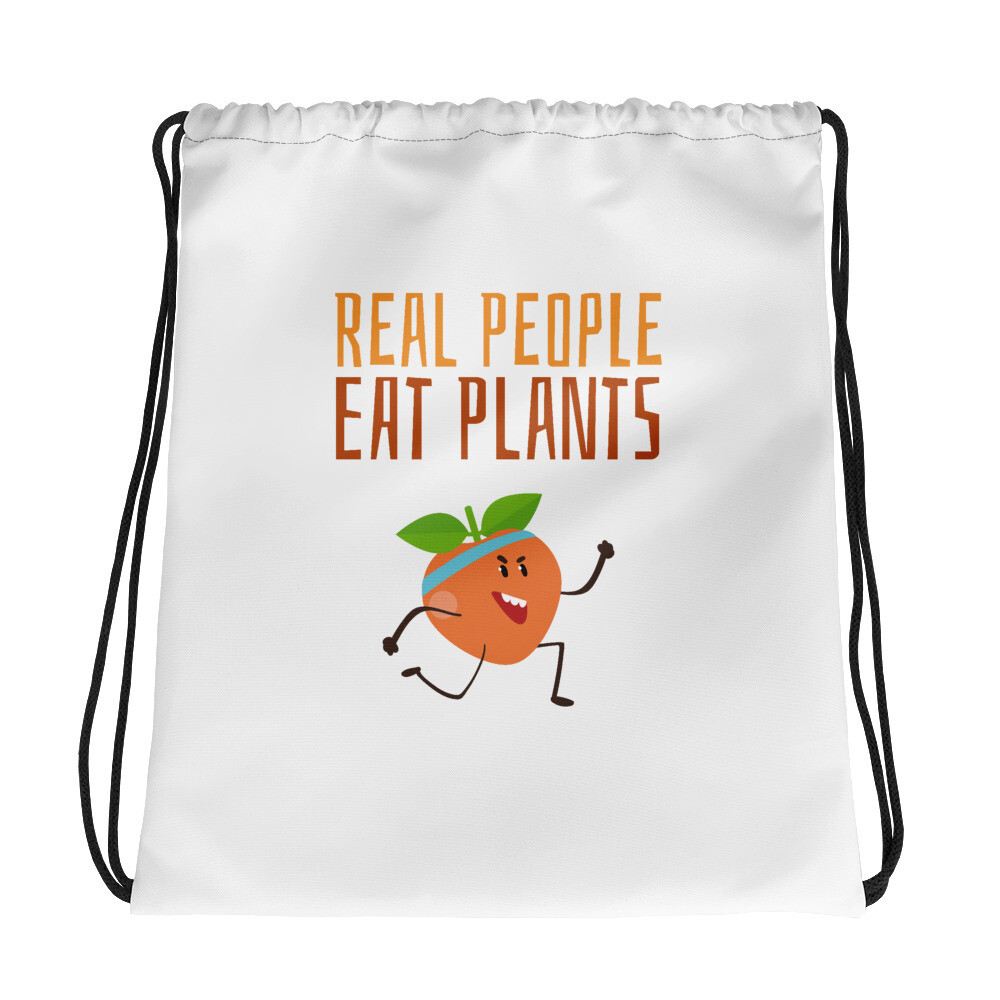 Real People Eat Plants Drawstring Bag Peach