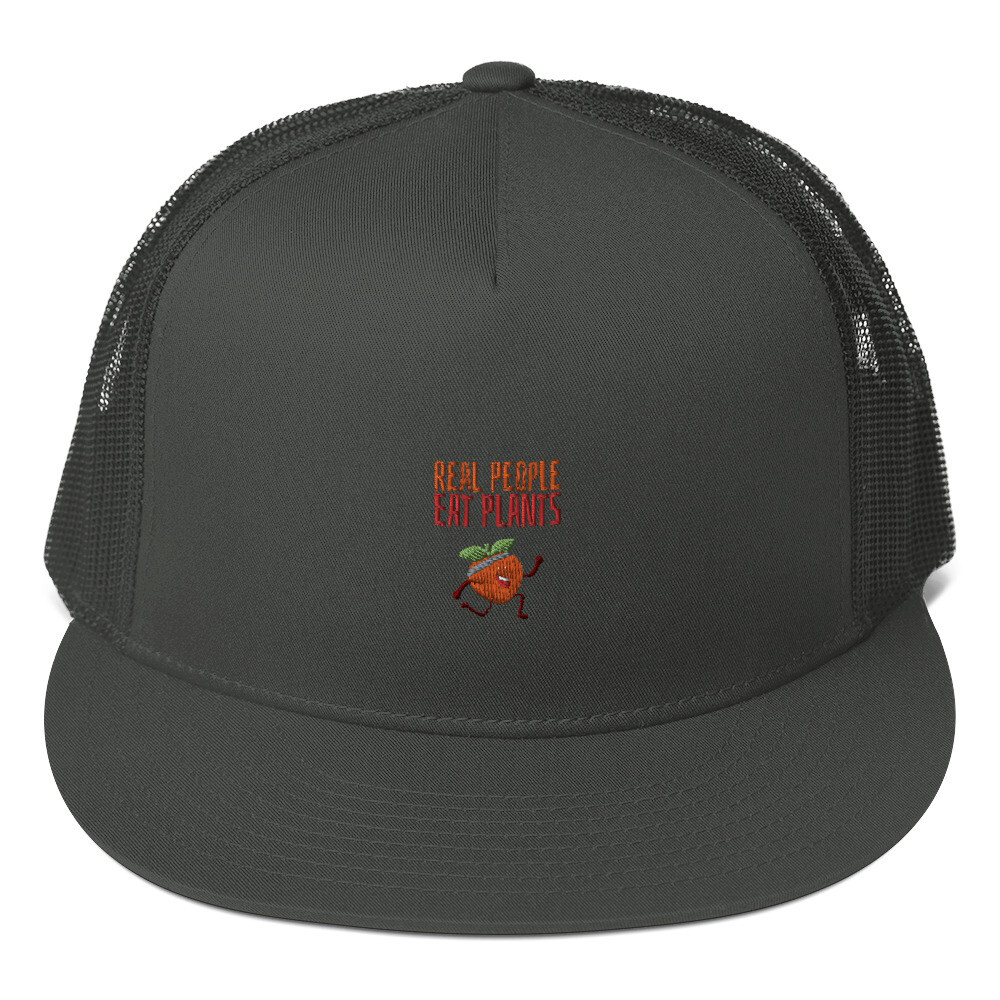 Real People Eat Plants Mesh Back Snapback Peach