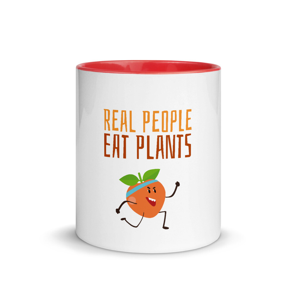 Real People Eat Plants Mug with Color Inside Peach